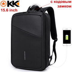 Рюкзак Антивор KAKA-807 Чёрный с USB портом и отделением для ноутбука 15.6