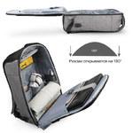 Рюкзак Tigernu T-B3558 Серый с USB-портом и отделением для ноутбука 15.6