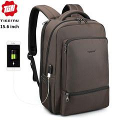 Рюкзак Tigernu T-B3585 Кофе с USB портом и отделением для ноутбука 15.6