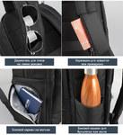 Рюкзак Tigernu T-B3668 Фиолетовый с USB портом и отделением для ноутбука 15.6