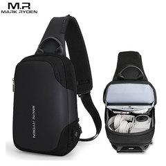 Однолямочный рюкзак Mark Ryden MR7056 Чёрный с USB-портом