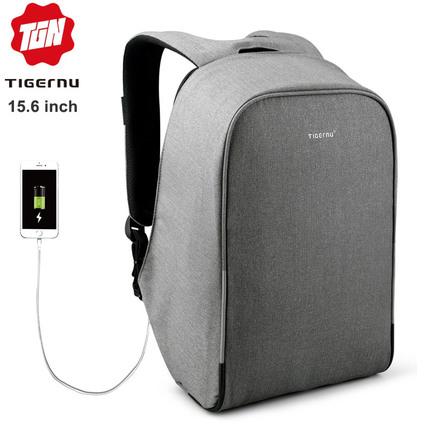Рюкзак Антивор Tigernu T-B3213H Серый с USB портом и отделением для ноутбука 15.6