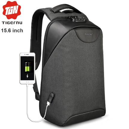 Рюкзак Антивор Tigernu T-B3611 Чёрный с USB портом и отделением для ноутбука 15.6 дюймов
