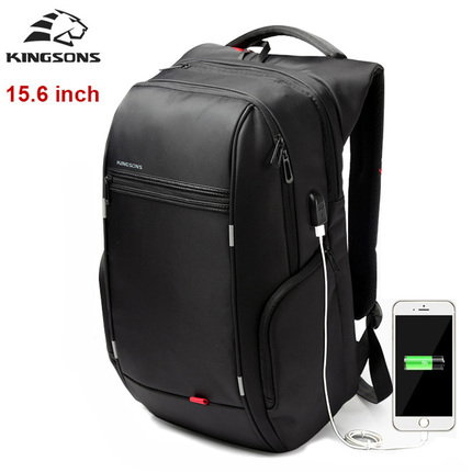 Рюкзак Kingsons KS3140W Чёрный с USB-портом и отделением для ноутбука 15.6 дюймов