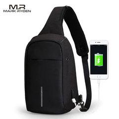 Однолямочный рюкзак антивор Mark Ryden MR5898 Чёрный с USB-портом