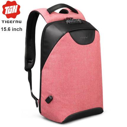 Рюкзак Антивор Tigernu T-B3611 Розовый с USB портом и отделением для ноутбука 15.6