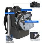 Рюкзак Tigernu T-B3905 Тёмно-серый с USB-портом и отделением для ноутбука 19 дюймов