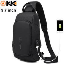 Рюкзак-сумка на одно плечо KAKA-853 Чёрный с USB портом и отделением для iPad 9.7 inch